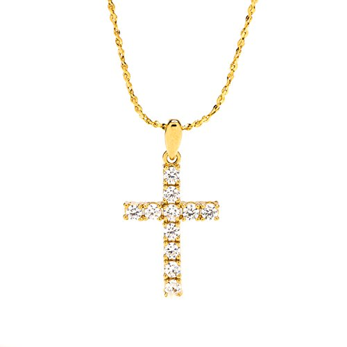 Cross Necklace Pendant Small Cubic Zirconia + Chain LIFETIME WARRANTY 24K Gold Plated Made in USA Religious Jewelry For Women, Girls