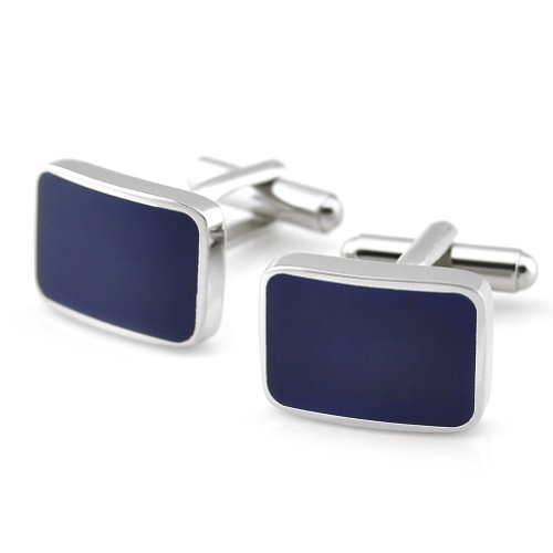 PenSee Classic Stainless Steel & Navy Enamel Rectangle Cufflinks for Men with Gift Box