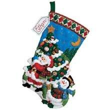 Bucilla 18-Inch Christmas Stocking Felt Applique Kit, 86182 Tree Shopping