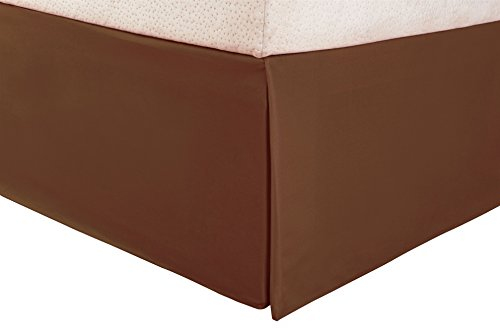1500 Series 100% Microfiber Pleated King Bed Skirt Solid, Taupe - 15 Inch Drop and Wrinkle Resistant