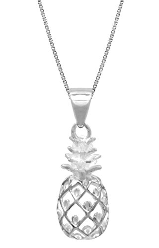 Sterling Silver Pineapple Necklace Pendant with 18 Box Chain