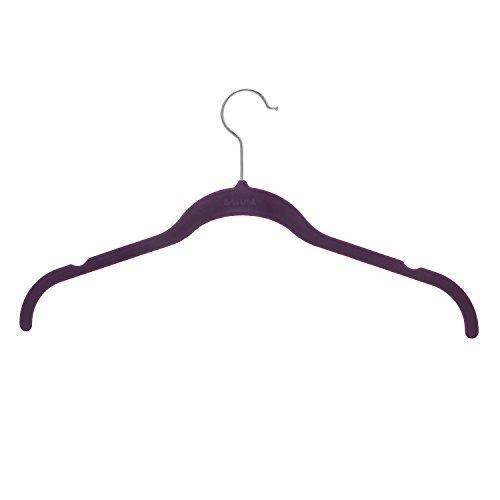 BriaUSA Shirt/Dress Velvet Hanger Set of 10 Purple Notched Shoulder Prevents Slipping Steel Swivel Hooks