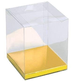 Clear Favor Boxes with Gold Base 4 x 4 x 4.5 - Set of 12