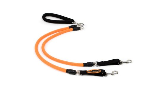 EZ Steps Stretch Dual Leash for Dogs, Large - Red