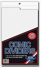 BCW Comic Dividers 7 1/4 X 10 3/4 (24 white dividers + 1 printed indexing divider)