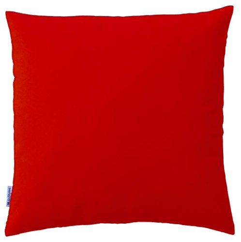 JinStyles® Soft & Thick Cotton Canvas Accent Decorative Throw Pillow (Solid Christmas Red, Square, 1 Cushion Sham for 18 x 18 Inches Inserts)