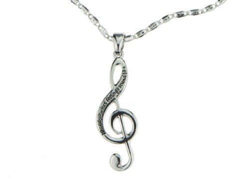 Silver Music Note Music Is What Feelings Sound Like Treble Clef Pendant Charm Necklace