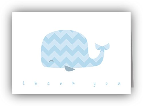 Blue Chevron Whale Baby Thank You Cards - 24 Cards & Envelopes