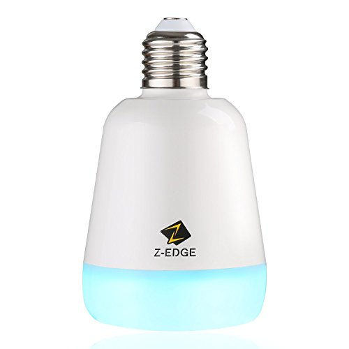 Z-Edge Bluetooth 4.0 Speaker Smart LED Night Light Bulb - Smartphone Controlled Dimmable Multicolored Color Changing Lights - Works with iPhone, iPad, Android Phone and Tablet