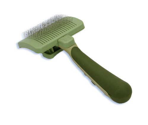 Coastal Safari Self-Cleaning Small Slicker Brush for Dogs, Green