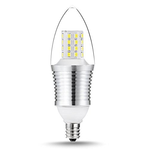 LOHAS SWEETY STYLE 9 Watt Daylight White 6000K B35 E12 Base LED Light Bulbs,70W-75W Incandescent Replacement,360 Omni-direction Candelabra 810 Lumens,3 Layers Torpedo Shape, Blunt Tip Plastic Cover,Silver Alumium Lamp Body