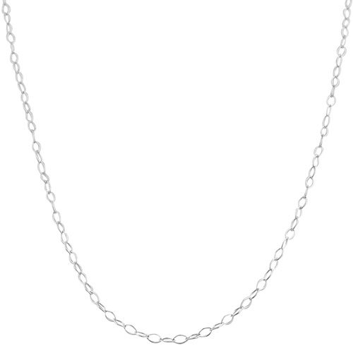 Sterling Silver 1.5mm Open Link Chain (14, 16, 18, 20, 22, 24 or 30 inch in white, yellow or rhodium)
