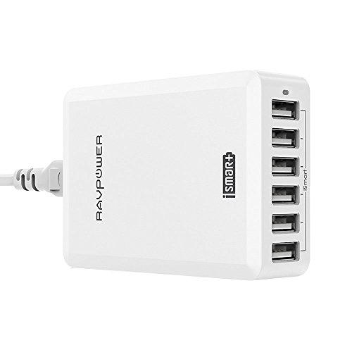 USB Charger, RAVPower 60W 12A 6-Port Desktop Charger Charging Station with iSmart Tech for iPhone iPad Android Smartphones and More -White