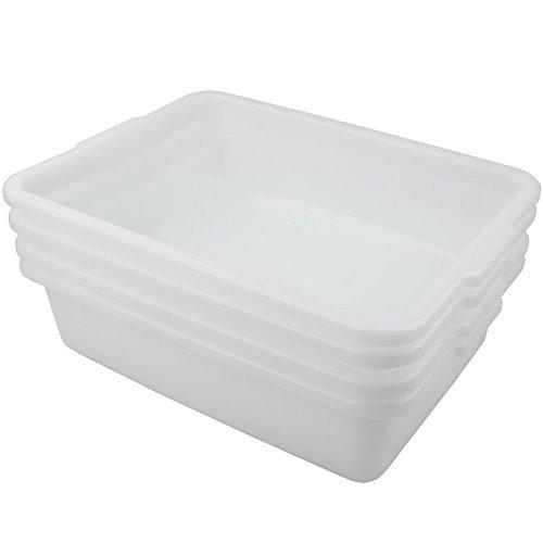 HOMMP White 11.6Qt Rectangle Wash Basins, 4-Pack