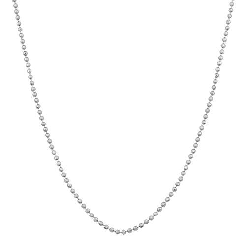 Sterling Silver 0.9-mm Diamond-cut Bead Ball Chain (24 Inch)