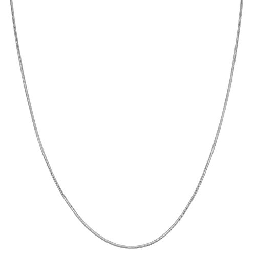 14k White Gold Round Snake Chain (0.8 mm Thick, 18 inch)