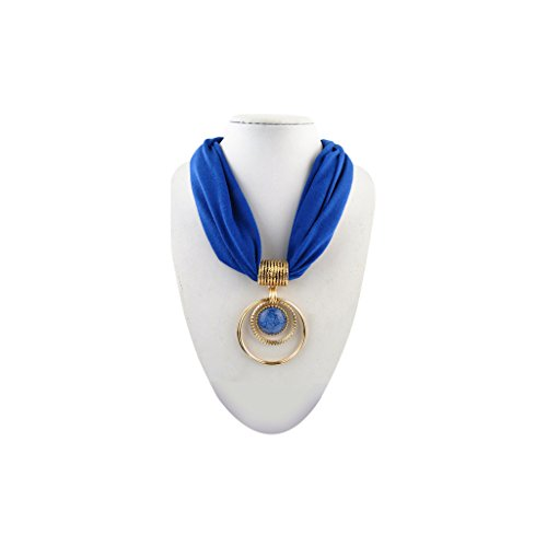 Blue Adjustable Chain Short Scarf in Gold with Vintage Charm Elegant Blue Crystal, Hoops Pendant Choker