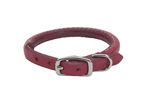 Coastal Pet Products DCP120312RED Leather Circle T Oak Tanned Round Dog Collar, 12 by 3/8-Inch, Red