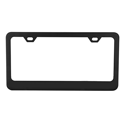 Grand General 60439 Matte Black Powder Coated License Plate Frame with 2 Holes