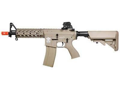 g&g combat machine m4 raider high-performance full metal gearbox aeg airsoft rifle w/ integrated ras and crane stock - desert tan(Airsoft Gun)
