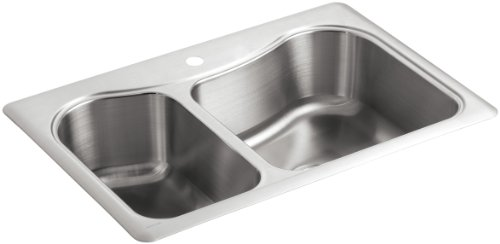KOHLER K-3361-1-NA Staccato Large/Medium Self-Rimming Kitchen Sink