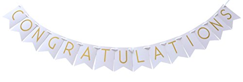 Congratulations Gold Foil Party Banner - Shimmering Gold Letters on Light Pastel Pink