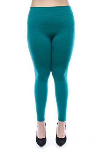 VIRGIN ONLY Women's Plus Size Solid Color High-waist Soft Leggings (Plus size, 62 Teal)