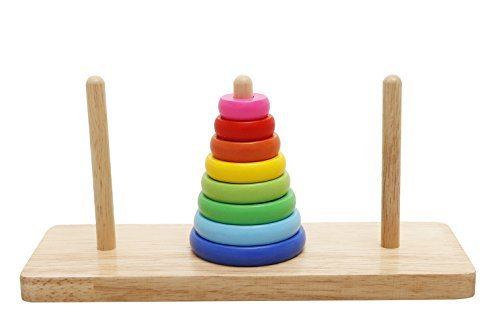 Lewo Round Stacker Hanoi Tower Game Wooden Blocks for Baby