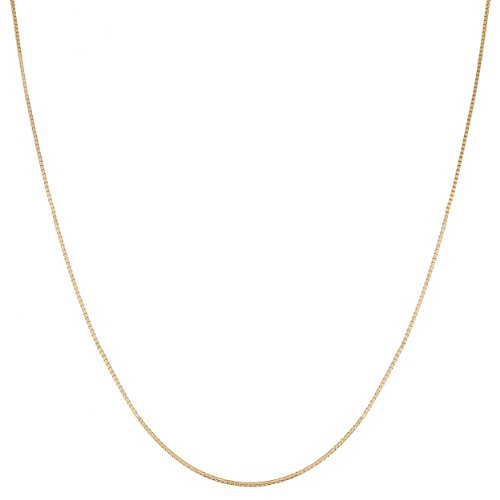 Solid 10k Gold 0.7mm Box Chain Necklace (16, 18, 20, 22, 24 or 30 inch - yellow or white gold)
