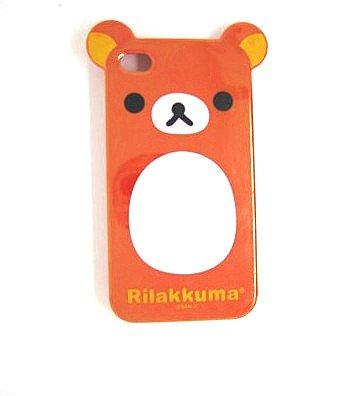 Orange Rilakkuma Lazy Bear TPU Soft Case for Iphone 4
