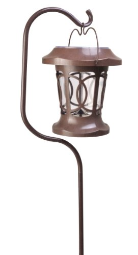 Moonrays 91399 Solar Powered Bradbury Hanging LED Plastic Stake Light, Brown