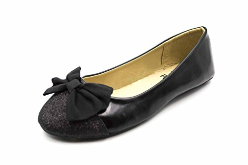 Simply Petals Girl's Elizabeth Two-toned Ballerina Flat with Bow (Toddler/Little Kid/Big Kid) in Black Size: 2 M US Little Kid