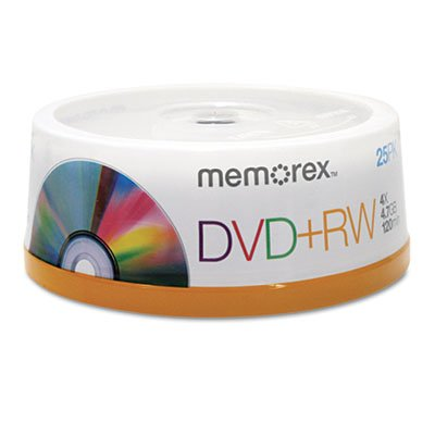 DVD+RW Discs, 4.7GB, 4x, Spindle, Silver, 25/Pack
