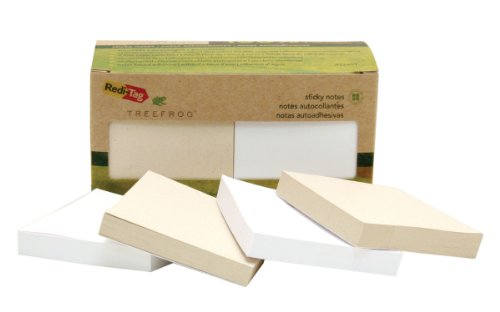 Redi-Tag TreeFrog Sticky Notes, 100% Tree Free, Environmentally Friendly, 3 x 3 Inches, 100 Sheets per Pad, 12-Pack, Classic White and Natural (27411)