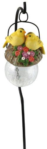 Moonrays 92262 Goldfinch-Bird Sits on Hanging-Glow-Ball Solar Light, Garden Art, Goldfinch Pendant Shape