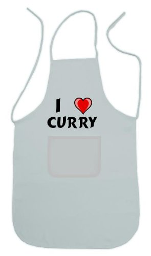Personalized white apron with name: Curry