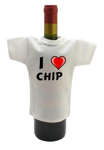 Wine Bottle T-Shirt with I Love Chip