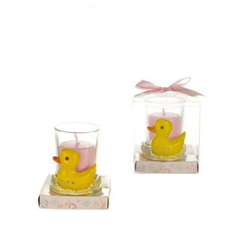 Lunaura Baby Keepsake - Set of 12 Girl Rubber Duck with Crystals Glass Votive Candle Set Favors - Pink
