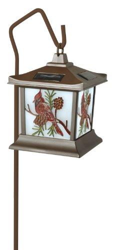 Moonrays 92270 Cardinal Solar Light, Stained Glass Outdoor Lamp Cardinal Stained Glass