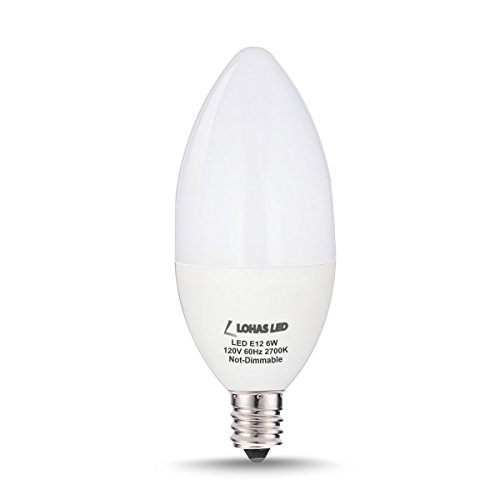 LOHAS 6watt LED Candle Light Bulb E12 Base, 60W Equivalent LED Bulbs, Warm White 2700k, 550lm, 180 Degree Beam (Not-dimmable)