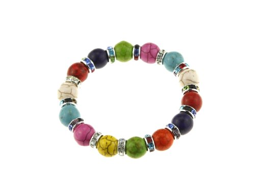 Girls Multicolor Crystal Bead Stretch Bracelet Fits Slim Adult Women Wrist Christmas Stocking Stuffer Gift