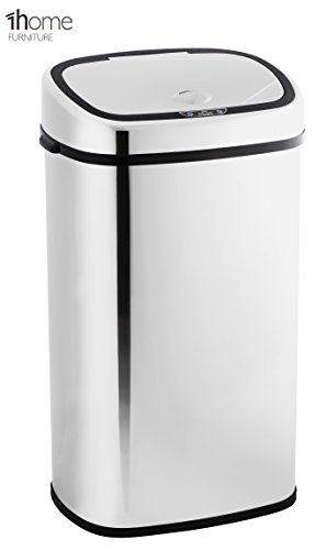 1home 58L Stainless Silver Steel Automatic Sensor Touchless Waste Bin