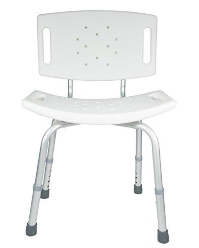 AdirMed Slip Safe, Adjustable Height, Lightweight, Shower Chair - Bath Chair - With Backrest