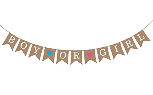 Gender Reveal Party - Baby Shower Decorations - Boy or Girl Burlap Burlap Banner by Sterling James Co.
