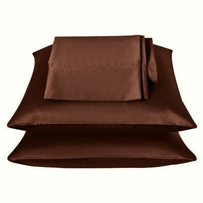 2 Pieces of 350TC Solid Coffee Brown Soft Silky Satin Pillow Cases for King Pillow