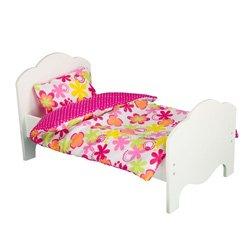 Teamson Kids Little Princess 18 Doll Furniture - Single Bed & Bedding Set