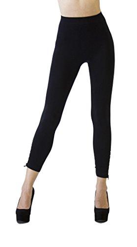 D&K Monarchy Women's Seamless Full Length Zipper Embellished Tights, Black, 0-6