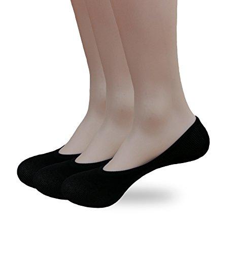 Eedor Men's 3 Pack Thin Casual No Show Socks Non Slip Flat Boat Line Black