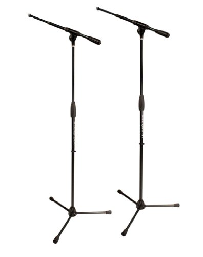 Ultimate Support PRO-T-T Pro Series Microphone Stand with Patented Quarter-turn Clutch and Oversized Steel Tubing - Tripod Base/Standard Height/Telescoping Boom - 2 Pack