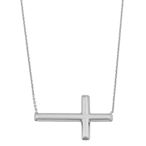 14k Solid White Gold Sideways Polished Cross Adjustable Length Necklace (16 to 18 inch)